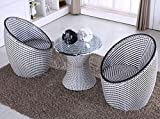 BAYLI - 3-TLG. 2 x Sessel + 1 x Tisch GARTENMÖBEL Set Poly Rattan Lounge BALKONSET GARTENSET...