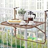 Balkonhängetisch W75xD55xH65cm-JAUTO Balkontisch zum Einhängen aus Streckmetall &...