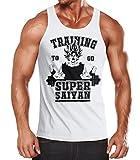 Herren Tanktop, Son Goku Super Saiyajin Saiyan, Training Gym Fitness Muskelshirt Moonworks® weiß L