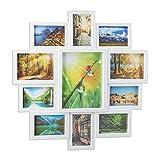 Relaxdays Bilderrahmen Collage, Bildergalerie für 11 Fotos, Fotorahmen zum Aufhängen, für mehrere...