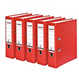 Falken PP-Color Kunststoff-Ordner 8 cm breit DIN A4 rot 5er Pack Ringordner Aktenordner Briefordner...