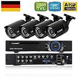 FLOUREON Videoüberwachung 8CH 1080N HDMI DVR Recoder + 4X 2000TVL 960P Überwachungskamera Outdoor...