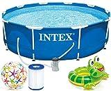 INTEX 305x76 cm Prism Metal Frame Swimming Pool Schwimmbecken 28202 Komplett-Set mit Filterpumpe und...