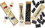 2 er SET ( 2 Stück ) Spielesammlung aus Holz ( Domino und Mikado ) mit praktischem Schiebedeckel...