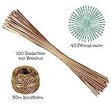 ORANGE DEAL 100 Pflanzstäbe | 90 cm Lang | aus Bambus | Ø 6 mm | 40 Pflanzenbinder | 30m Bindfaden...