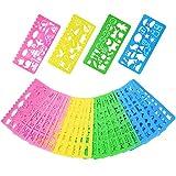 Kunststoff Schablonen Zeichen Form Set für Kinder, 74 Formen, 24 Stück