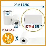 50 x EC Cash Thermorollen | Breite: 57 mm – Durchmesser: 35 mm - Hülsendurchmesser: 12 mm –...