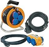 Brennenstuhl Power-Pack-Set IP44 / Kabeltrommel Baustellenset (10+5+10m Kabel - Spezialkunststoff,...