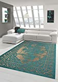 Moderner Teppich Designer Teppich Orientteppich Wohnzimmer Teppich mit Bordüre in Türkis Beige...