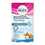 Veet Kaltwachssstreifen Easy-Gelwax Technology  für die Bikinizone & Achseln für sensible Haut, 16...