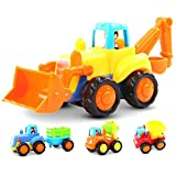 Kunststoff Spielzeugauto 4 Baufahrzeuge in einem Set Pull Back and Go LKW Spielzeug ab 1 bis 3...