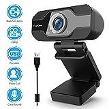 TedGem Webcam, 1080P, PC Webcam mit Mikrofon Full HD Webcam USB Webcam Streaming Webcam für...