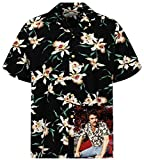 Tom Selleck Original Hawaiihemd, Kurzarm, Star Orchid, Schwarz, 3XL