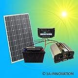 Komplette 220V Solaranlage TÜV Qualitäts- Akku wartungsfrei + 100W Hochleistungs- Solarmodul +...