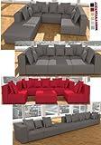 ::: MODELL HOLLYWOOD: DESIGNER WOHNLANDSCHAFT: 6 LUXUSTEILE + 14 KISSEN NEU! in 6 Farben ALCANTARA...