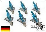 6x Pfeilspitzen | blau | Jagdspitzen Armbrust Bogen | Alu mit 3 Klingen aus 430 Edelstahl | 6x...