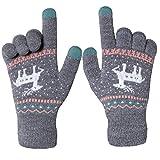 Chalier Damen Strick Handschuhe Touchscreen warme Fäustlinge Winter Damenhandschuhe mit...