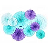Feelshion 10x Blau Lila Deko-Fächer Set, Papier Fan Lampion Wabenball für Geburtstag Hochzeitsfest...