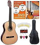 Classic Cantabile AS-851 4/4 Konzertgitarre Starter Set (Komplettes Anfänger Set mit Klassik...