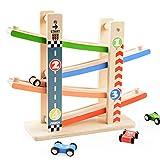 Holz Rollbahn Kinder Spielzeug, Vicoki Kinder Sliding Car Playset mit 4 Rennstrecken Urban Road...