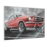 Memoboard 60 x 40 cm, Männermotive - Mustang Graphic - Glasboard Glastafel Magnettafel Memotafel...