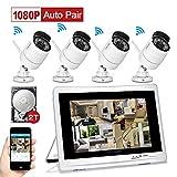 YESKAMO Überwachungskamera Set Außen Kabellos mit 4 x 1080P Wlan WiFi Sicherheitcameras 12' HD 2,0...