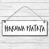 Hakuna Matata - Dekoschild Türschild Wandschild aus Holz 10x30cm - Holzdeko Holzbild Deko Schild...