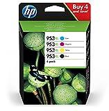 HP 953XL Multipack Druckerpatronen (mit hohe Reichweite für HP Officejet Pro) schwarz, rot, gelb,...