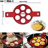 POAO Kuchenform Nonstick,Silikon Ei Ring Pfannkuchen Form 7er Runde,Fast&Einfache Möglichkeit...