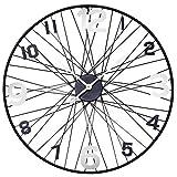 Große Metall XXXL Wanduhr Uhrwerk Dekouhr Nostalgie Modell mit schwarzen Fahrrad-Speichen und...