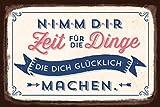 Grafik-Werkstatt 60566 Wandschild   Vintage-Art   Nimm Dir Zeit für die Dinge.   Retro Blechschild...