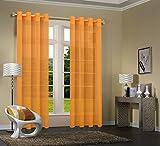Primavera -20332CN- 2er-Pack Orange Vorhang Transparent Gardinen Set Wohnzimmer Voile Vorhang...