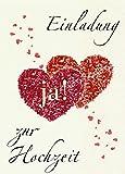 Einladungskarten Hochzeit mit Innentext und Umschlägen Motiv: Herzen / Ja! (20 Karten) Einladung...