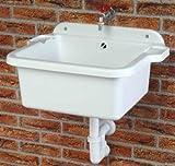 Ausgussbecken | Waschbecken | Spülbecken | Waschtrog | Becken inkl. Ablaufgarnitur und Schrauben...