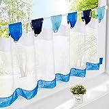 EZ GLAM Scheibengardine Voile Transparent Gardine Bunt Kleine Kaffee 1PC Vorhang (H*B 45*90cm, Blau)