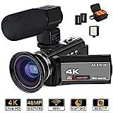 ACTITOP Videokamera, 4K-Camcorder, 48 MP, Full HD, 1080p, WLAN, IR-Nachtsicht, 16-facher digitaler...