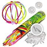 100 Knicklichter für Armbänder KNIXS | 6 Farb-Mix | inkl. 100 x 3D-Verbinder und 2 x...