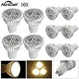 10 Stü Auralum 60*48mm GU10 LED Lampe 5W in warmweiß (2800-3200K),ersetzt 60W Halogenlampen,...