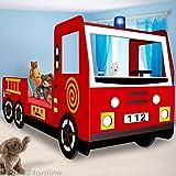 Kinderbett Jugendbett Juniorbett Bett Autobett Feuerwehrbett (205 cm x 94,5 cm x 103 cm). inkl....