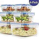 6er-Set Frischhaltedosen mit Deckel, Quadratische Lebensmittelbehälter aus Glas, BPA-Frei,...