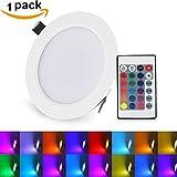 LED Deckenleuchte Dimmbar 16 Farben mit Fernbedienung XJLED 10W LED Einbaustrahler 16 Farben 4...