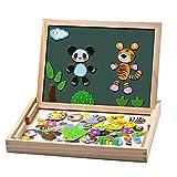 Uping magnetisches Holzpuzzle Staffelei doppelseitige Tafel Holzbrett Doodle 100 Stücke für ab 3...