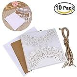 UEETEK 10Pcs hohlen dekorative Hochzeitseinladung Grusskarte mit Spitze Umschlag für Hochzeit...