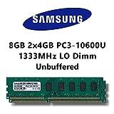 Samsung 8GB (2x 4GB) Dual-Channel Kit DDR3 1333MHz (PC3 10600U) LO Dimm Computer PC Desktop RAM...