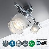 B.K.Licht LED Baddeckenleuchte I 2 flammig I schwenkbar I Chrom I Deckenleuchte I Badezimmer-Lampe I...