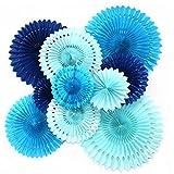 Feelshion 10x Blau Serie Papier Fächer Set, PomPoms Tissue Blumen, Hängende Deko für Geburtstag /...