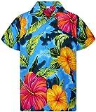 Funky Hawaiihemd, Big Flower, hellblau, L