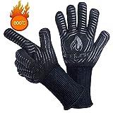 AngLink Grillhandschuhe, BBQ Handschuhe bis zu 800°C 1 Paar Rutschfeste Hitzebeständiger...