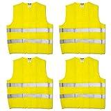 4 Stück Maxpack® Warnweste mit praktischem Klettverschluss in Unigröße --- EN 471, Gelb,...