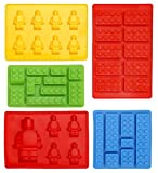 Eiswürfelbereiter und Pralinenformen Silikon 5-Teiliges Set, Lego Form Süßigkeiten,...